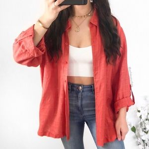 Coral red orange airy linen button down top